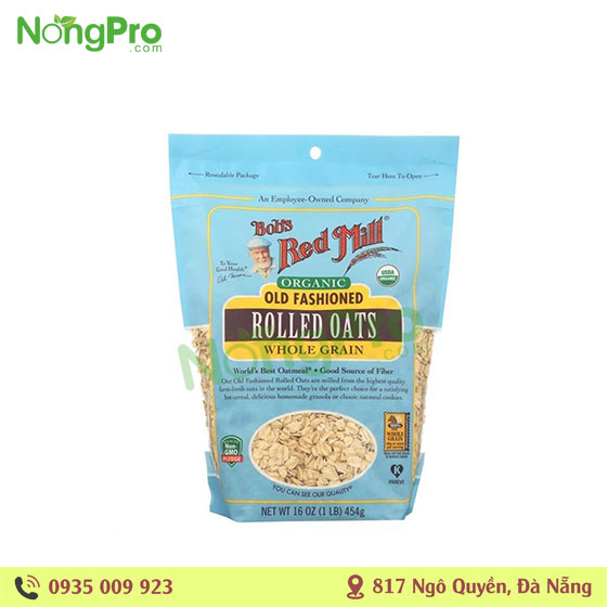 Yến mạch hữu cơ old fashioned rolled oats Bob's Red Mill (454g)